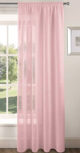 PLAIN BABY PINK COLOUR SLOT TOP READY MADE STYLISH LIGHT NET VOILE CURTAIN